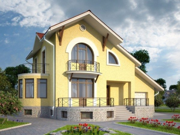 2 х этажный дом с цоколем из кирпича