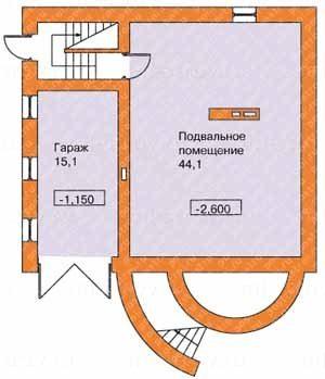 Чертеж цокольного этажа – замечаем, указаны уровни ниже нулевой отметки