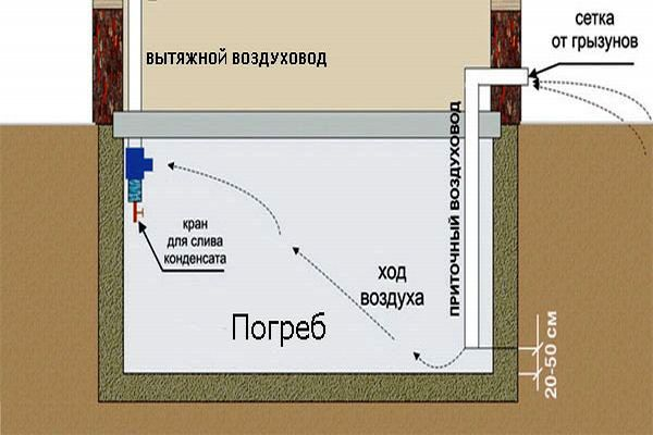 Чертеж вентиляции подземного погреба