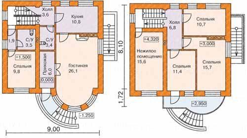 Чертежи первого (слева) и второго этажей пилотного варианта