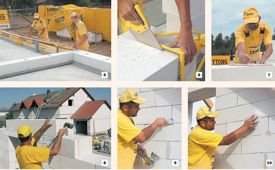 Выкладка стен из газобетона