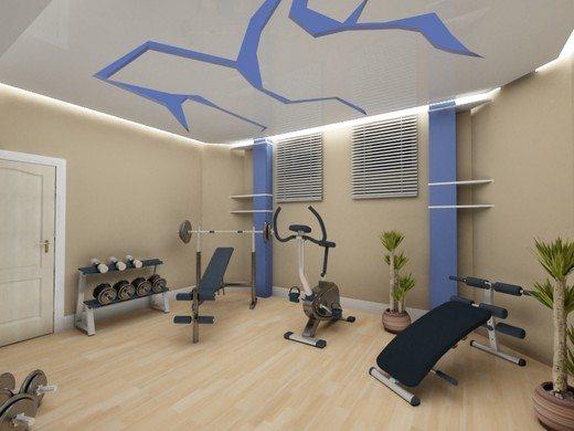 Домашний спортзал в цокольном этаже