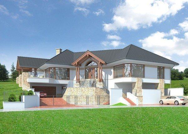 Интересный проект одноэтажного дома с цоколем