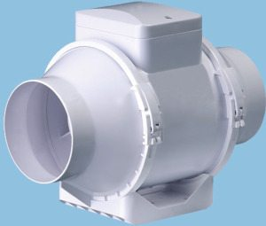 Канальный вентилятор для принудительной вытяжки.