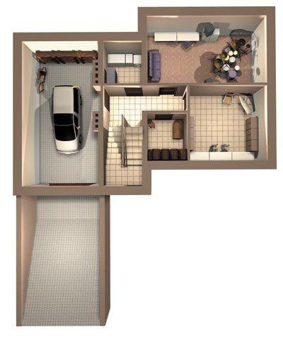 На фото изображен типовой проект подвала, который помогает экономить полезную площадь.
