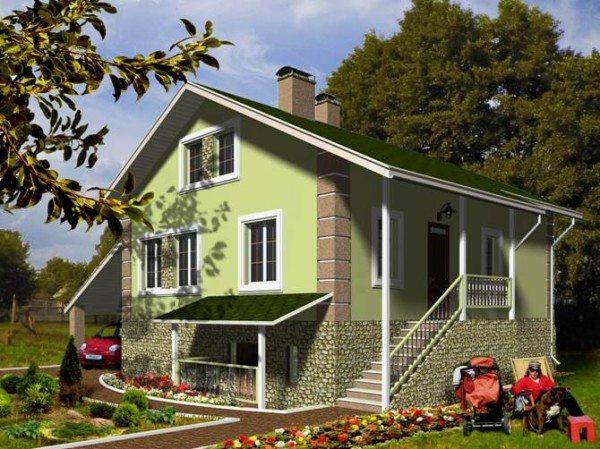 Небольшой проект загородного дома с цокольным этажом