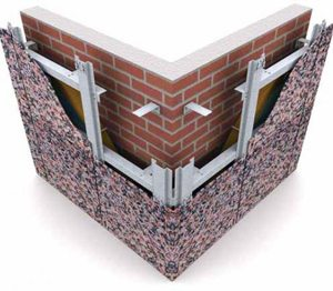Отделка цоколя керамогранитом производится по технологии вентилируемого фасада.