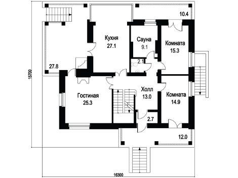 План дома с цокольным этажом для загородного участка