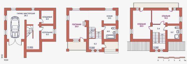 План одноэтажного дома с цоколем.