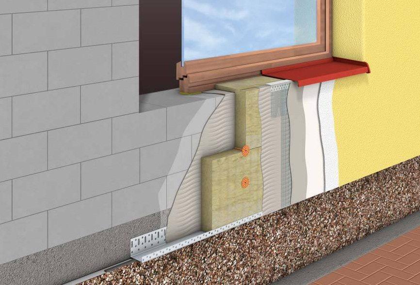 После утепления фасада цоколь станет западающим.