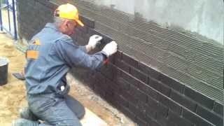 Процесс отделки цоколя клинкерной фасадной плиткой.
