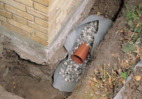 Трубы, засыпанные щебнем и укрытые геотекстилем